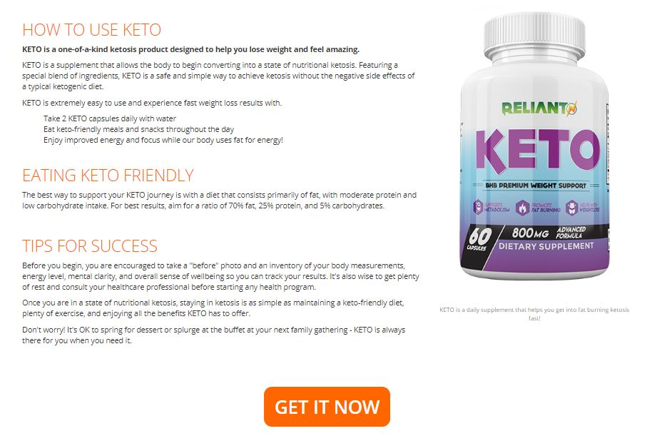 Reliant Keto Pills Use